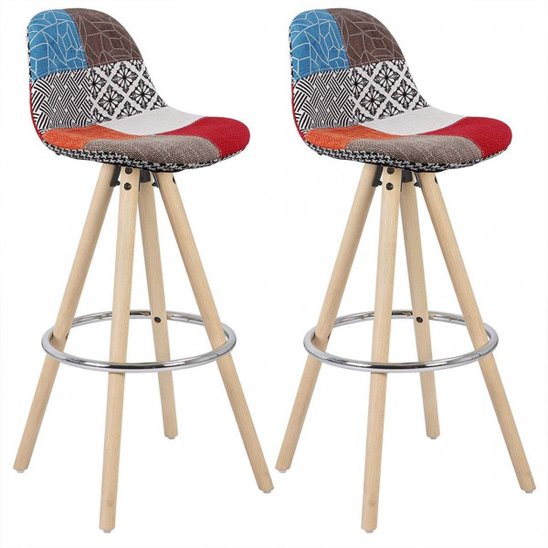 Barhocker 2er Set Barstuhl aus Leinen Holzgestell mit Lehne + Fußstütze