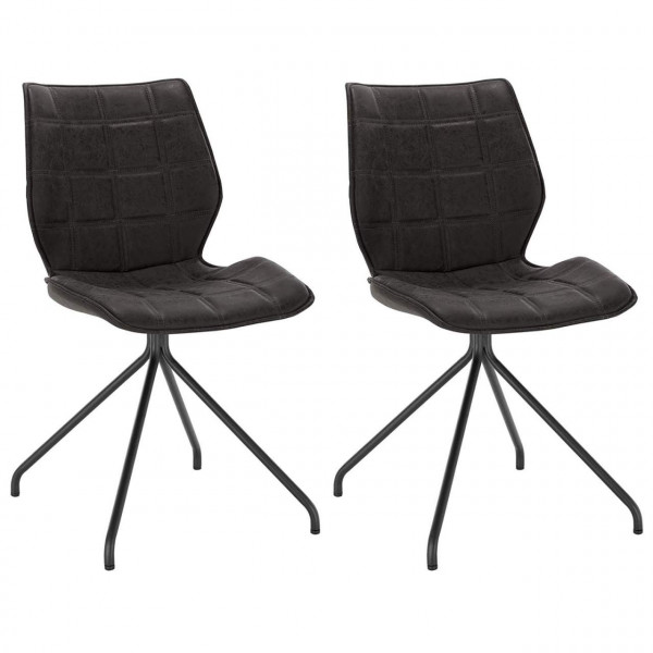 2er-Set Esszimmerstühle aus Kunstleder in Grau