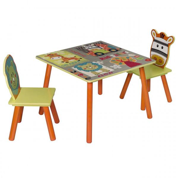 Kinder Sitzgruppe Waldtiere Tisch & Stuhlsets, Kindertisch mit 2 Stühle