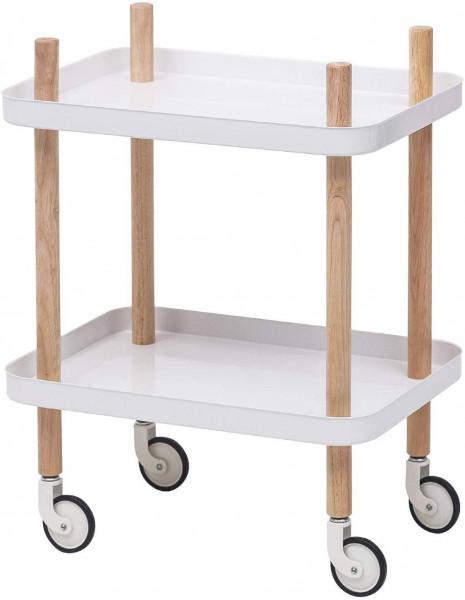 Küchenwagen mit Rollen 2 Etagen Weiß