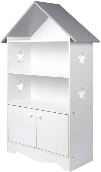 Children's shelf with lockable wooden door, white-gray