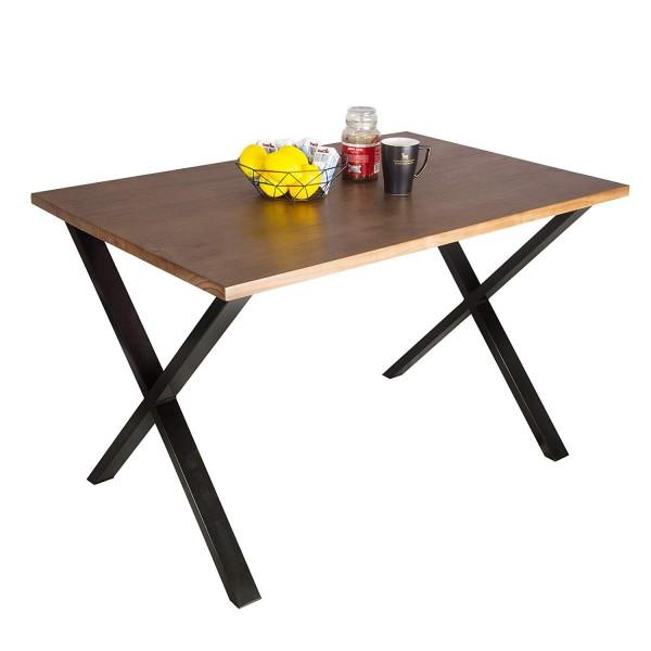 Esszimmertisch aus Massivholz und Metall Eiche