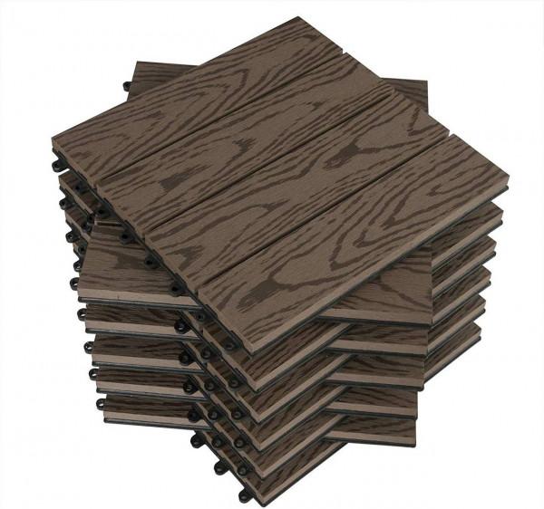 WPC Terrassenfliesen in Holzoptik, Bodenbelag mit Klicksystem, 11 Stück