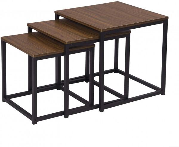 3er Set Beistelltisch & Couchtisch aus Holz & Metall, Dunkelbuche