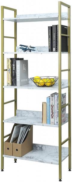 Hochregal Bücherregal Metallregal mit 5 Ablagen, gold-weißer Marmor