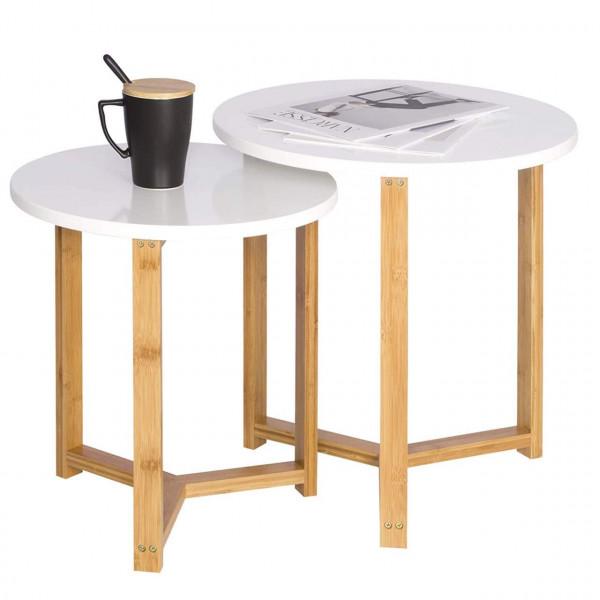 Beistelltisch 2er Set Kaffeetisch aus Bambus und MDF Weiß