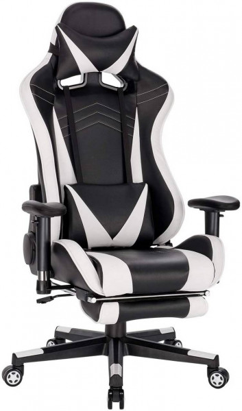 Gaming Stuhl Racing Stuhl aus Kunstleder Hensel, weiß