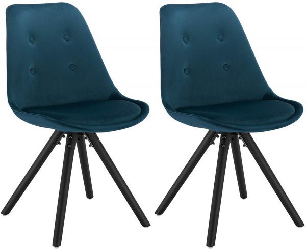 2er-Set Esszimmerstühle aus Samt Angelina