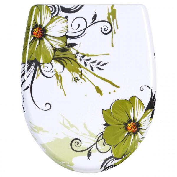 WC-Sitz Duroplast Blumen Grasgrün mit Absenkautomatik