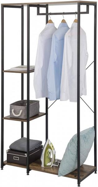 Garderobenständer & Schuhregal mit Ablage, aus Holz und Stahl, schwarz-vintage