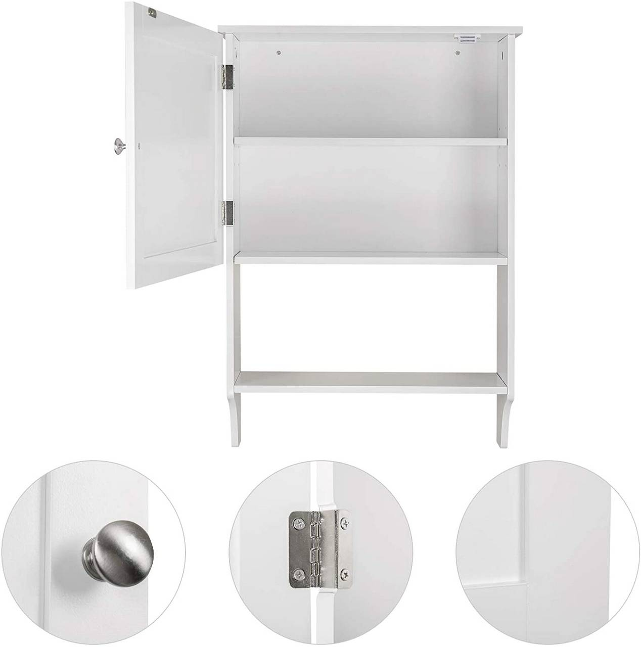 Bathroom Cabinet With Towel Rail And Wooden Shelves White Woltu Eu