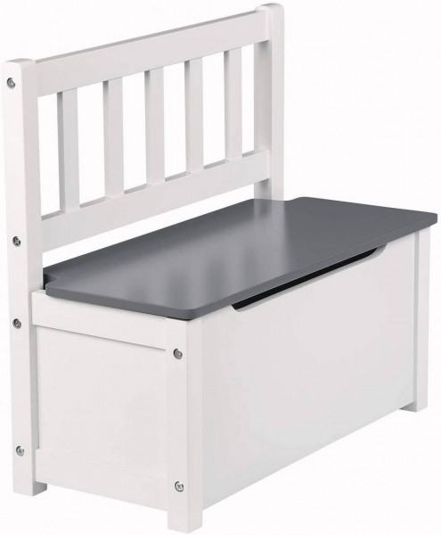 Children's bench with storage space, toy box for the seat white-gray