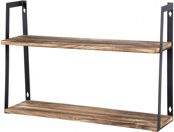 Floating Shelves 2-Tier Wall Shelves Retro Style with Iron Bracket and Wood
