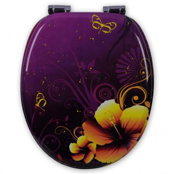 WC-Sitz MDF 3D Blumen mit Absenkautomatik