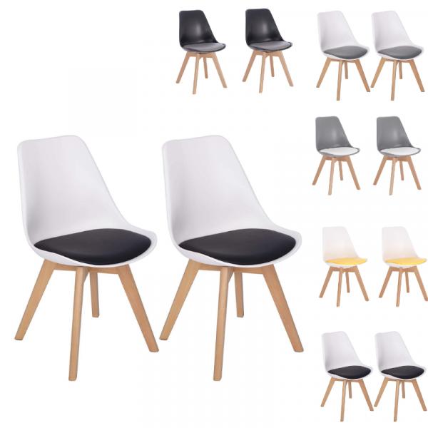 2er-Set Esszimmerstühle aus Massivholz 2 farbig