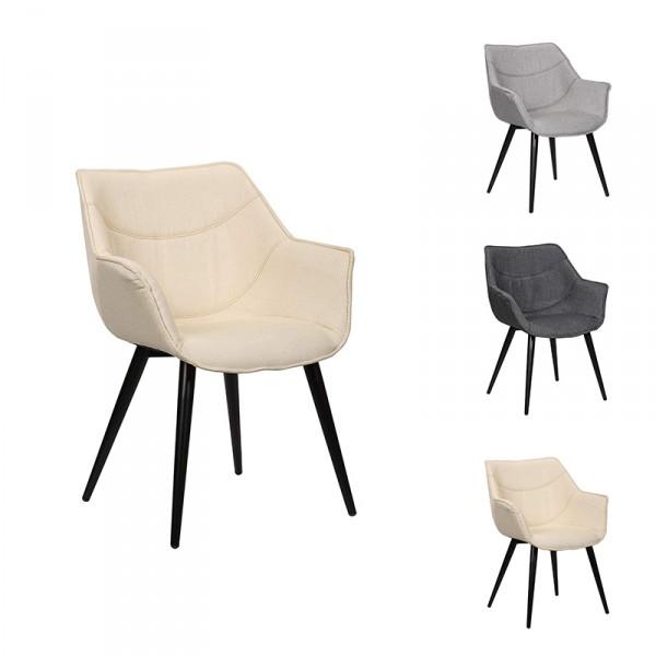 Esszimmerstuhl 1x Küchenstuhl aus Leinen und Metall