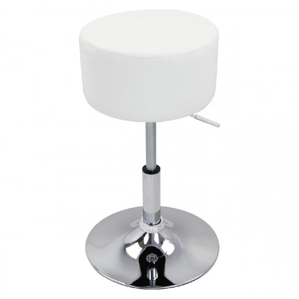 Stool made of artificial leather with a chromed metal frame