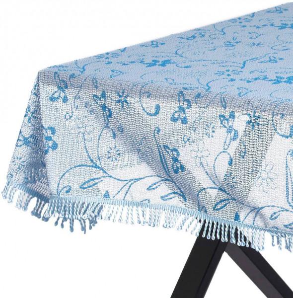 Gartentischdecke Weichschaum mit Quaste geschäumt in 3D Druck, Hellblau