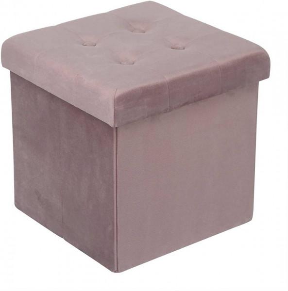 Sitzhocker aus Samt mit Stauraum Martin, rosa