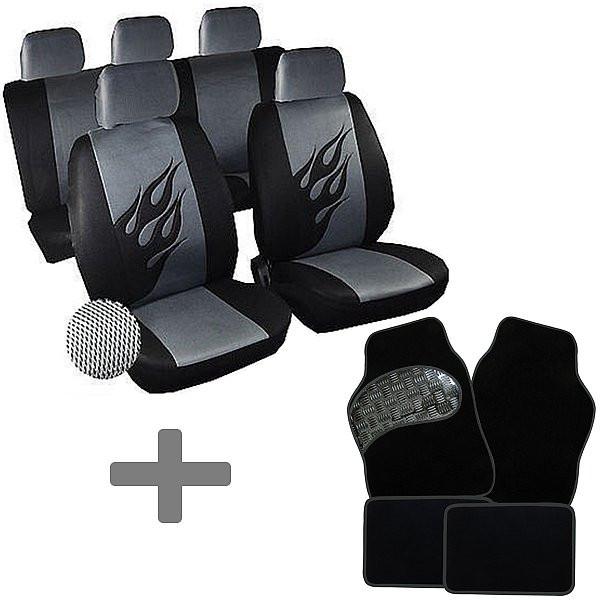 Auto Sitzbezug + Fußmatte Schwarz/Grau