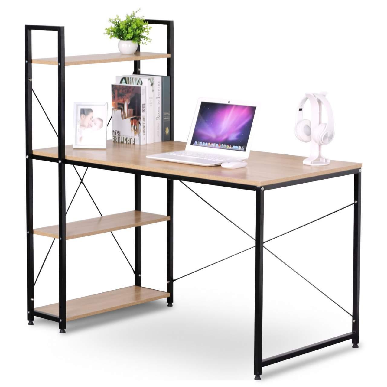 - Computer Desk 4 Shelves For Home Office Woltu.eu