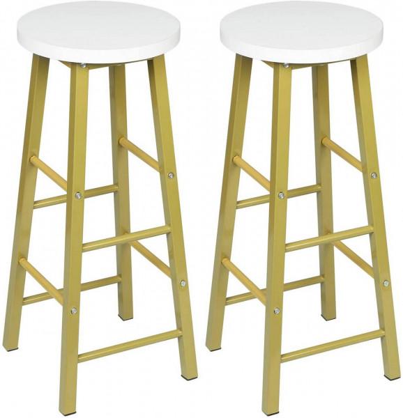 2er-Set Barhocker & Bistrohocker aus Metallbeinen, golden-weiß