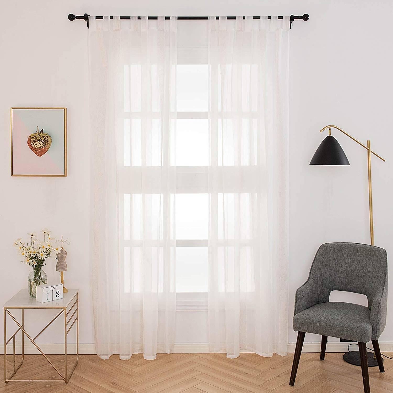 Voile Curtain Panels Tab Top Sheer Curtains Wood Grain Stripe Semi