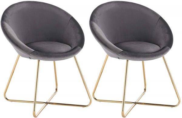 2er-Set Küchenstuhl aus Samt & Metallbeine - Modell Hanna