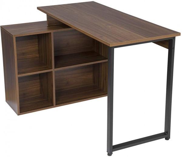 Schreibtisch mit Ablagen aus Holz - Modell Jessy, Dunkelbuche
