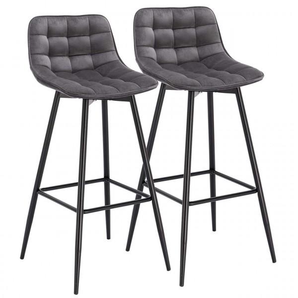 2er-Set Designer Barstuhl mit Fußstütze Samt, Metallbeine Elif