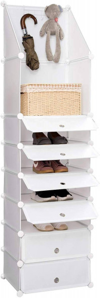 DIY Schuhschrank mit Haken, 7 Fächer, Kunststoff Weiß