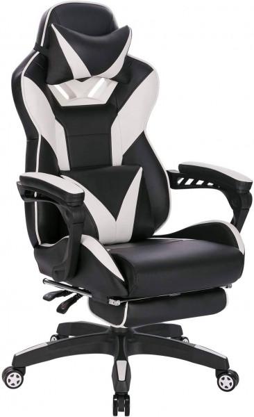 Gaming Stuhl aus Kunstleder mit Fußstütze Brandt, weiß