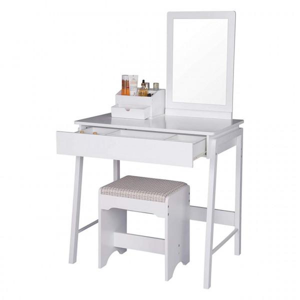 Schminktisch mit Spiegel & Schmuckkasten in Weiß
