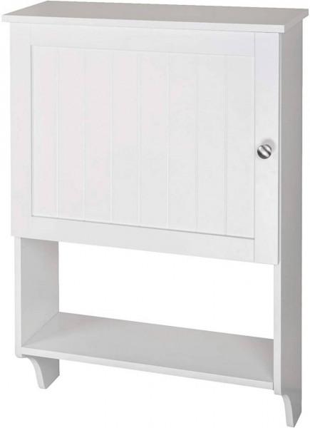 Badschrank mit Handtuchstange und Ablagen aus Holz, Weiß