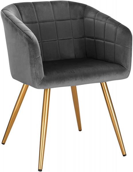 Velvet dining chair, golden legs - Annika model