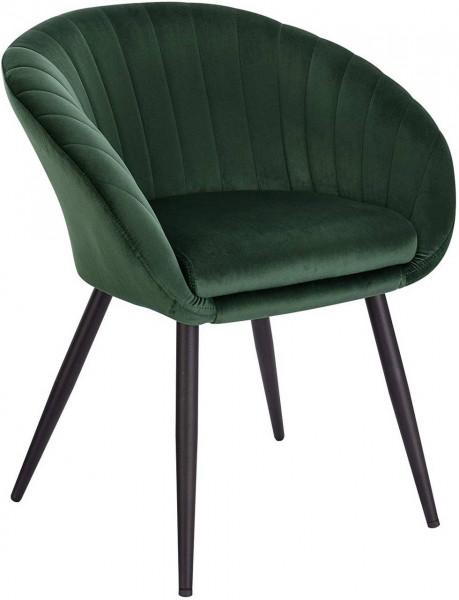 Velvet & metal kitchen chair with backrest - model Kerstin