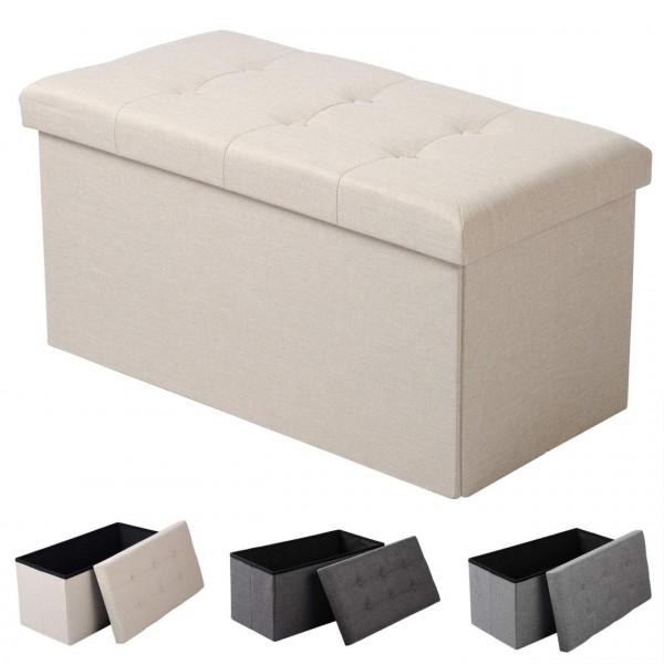 Linen sitting stool, storage box, removable lid