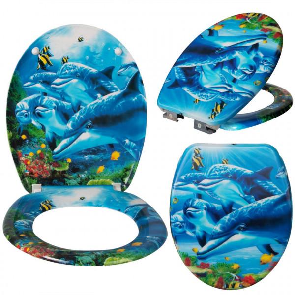 WC-Sitz Duroplast mit Absenkautomatik Delfine