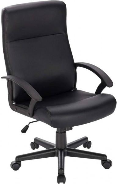 Bürostuhl Chefsessel aus Kunstleder mit Wippfunktion, schwarz