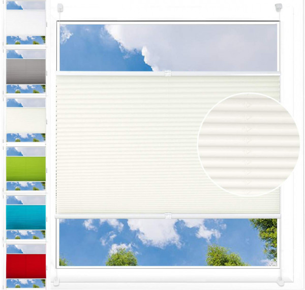 Pleated Blinds Polyester No Drilling Easy for Window or Door Frosted Glass Pattern Cream