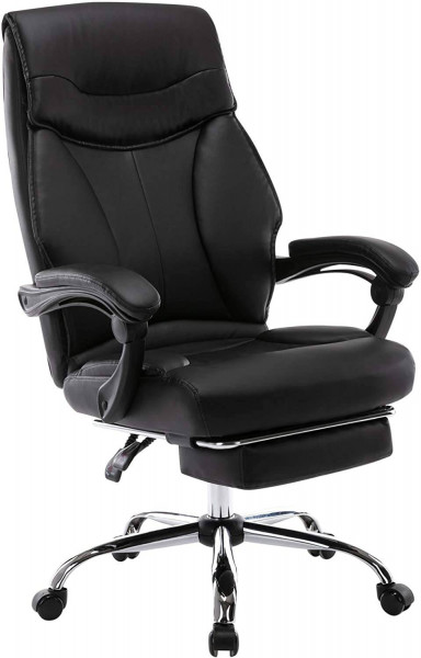 Executive chair with footrest made of synthetic leather, black