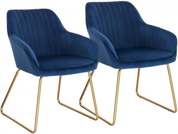2er-Set Esszimmerstühle aus Samt - Modell Kerstin, Blau