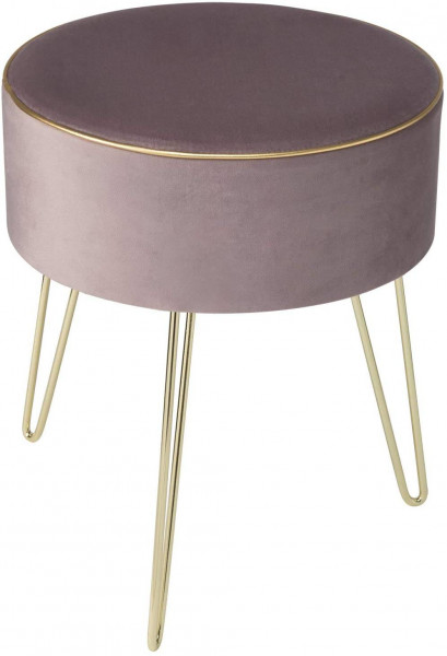 Stool with storage space velvet pouf round, loadable up to 150kg