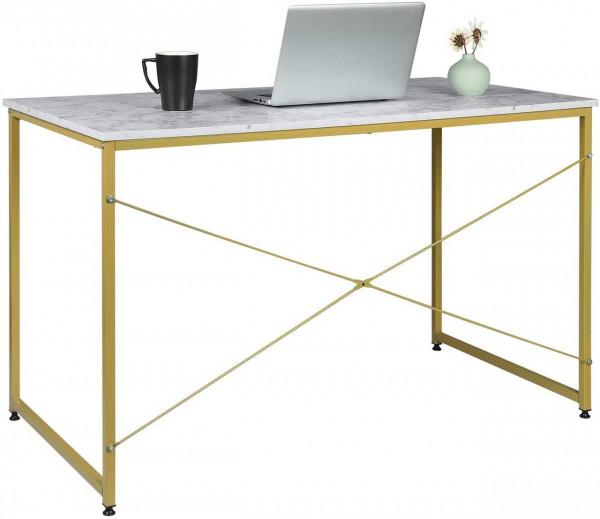 Schreibtisch aus Holz & Stahl in modernem Design, gold- marmor