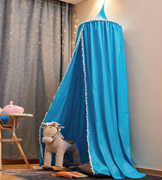 Baldachin Betthimmel mit Bommeln für Kinderzimmer 230 cm, blau