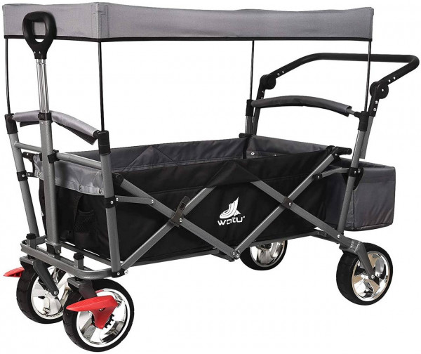 Handcart with roof, 4 castors with brakes