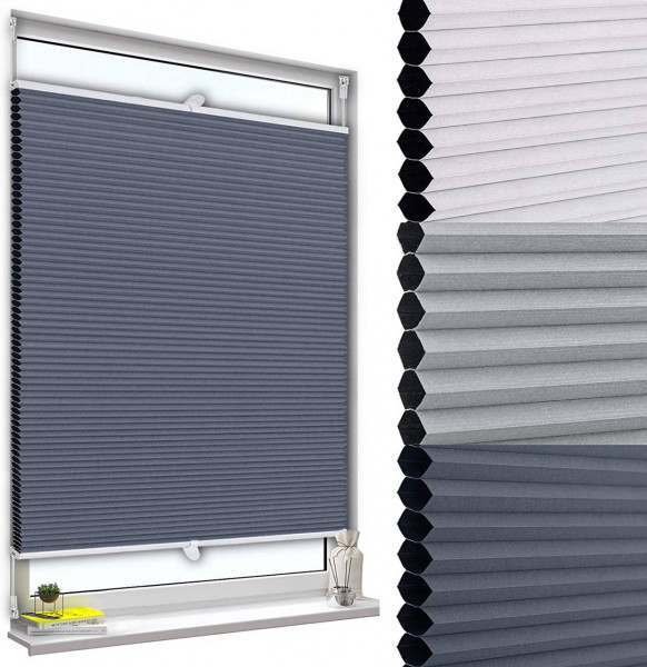 Double pleated blind without drilling with clamp carrier blue-white