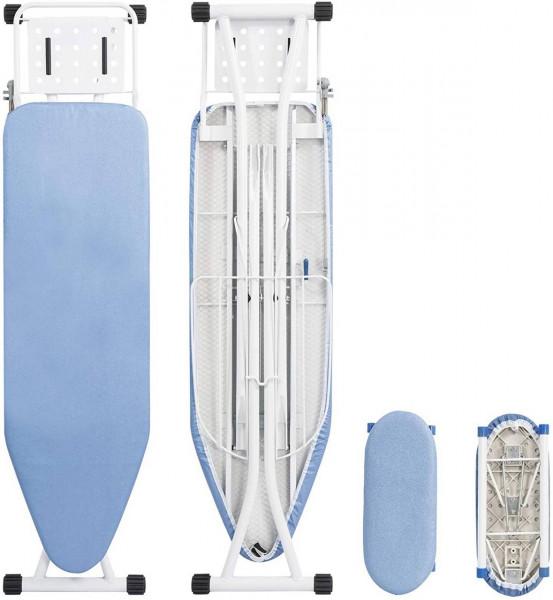 Bügeltisch Bügelbrett mit Ärmelbrett 132x33,5x(74-88) cm, blau