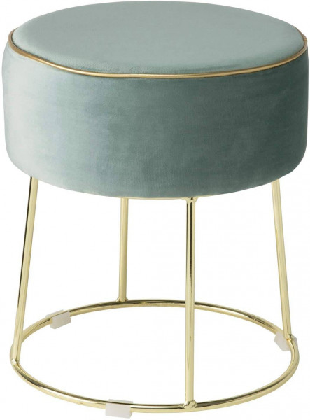 Round velvet stool with golden metal frame