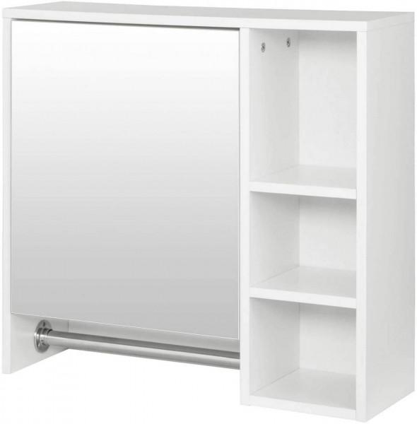 Spiegelschrank mit 6 Ablagen mit Tür Weiß